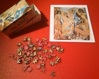 Dollhouse miniature real puzzle. It works. 80 pieces. The Young Ladies of Avignon - Pablo Picasso