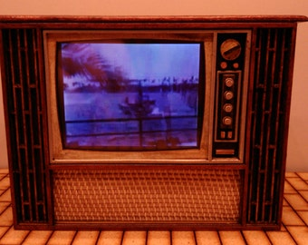 Miniature working vintage mid century TV, 1/12 scale for dollhouse and roombox