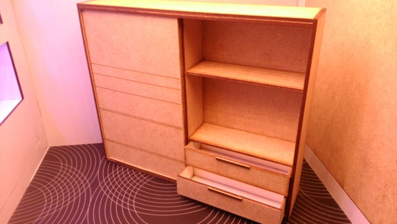 Ikea Inspirowane Miniaturowe Drewniane Nowoczesny Szafa 112 Etsy