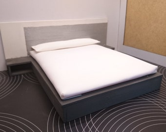Miniature modern anthracite grey bed, 1/12 scale for dollhouses