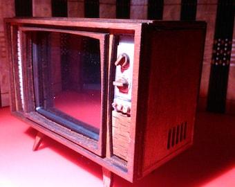 Dollhouse miniature working vintage mid century TV, 1/12 scale.