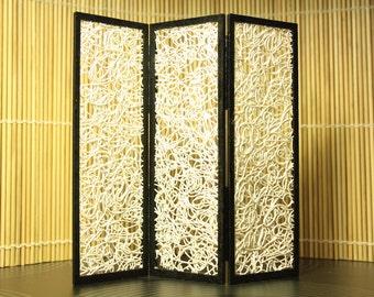 Modern miniature dollhouse folding screen - Entangled in white