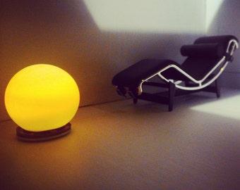 Modern orange small sphere led lamp, 1/12 miniature for dollhouses