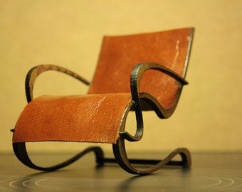 Art Nouveau style brown PU leather armchair , 1/12 miniature for dollhouses