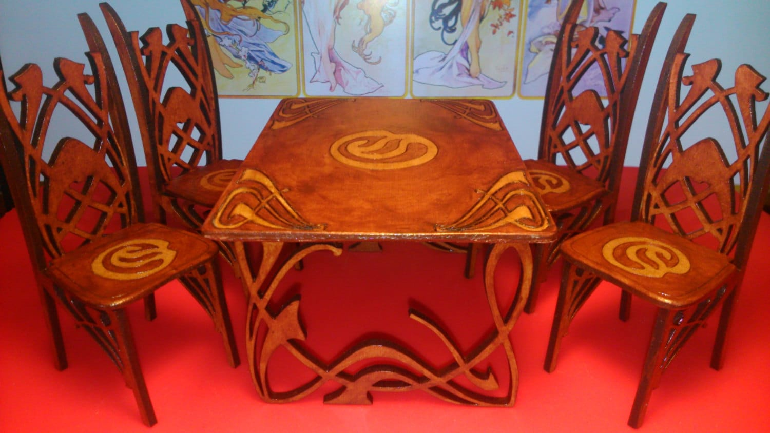 Art Nouveau Dining Table With 4 Chairs 1 12 Miniature For