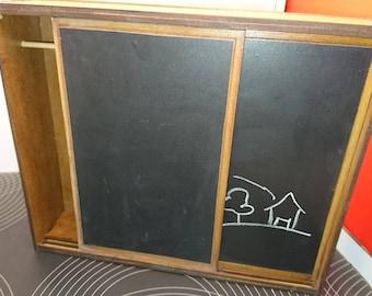 IKEA inspired miniature dark wood modern wardrobe with chalkboard surface, 1/12 scale for dollhouses