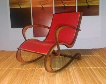 Art Nouveau mahogany red PU leather armchair , 1/12 miniature for dollhouses