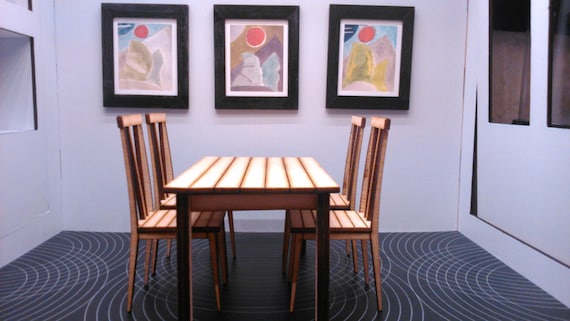 Modern Dining Table With 4 Chairs Ikea Inspired Natural Wood Etsy