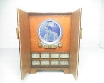 Dollhouse miniature working mid century Zenith TV, 1/12 scale vintage mini.