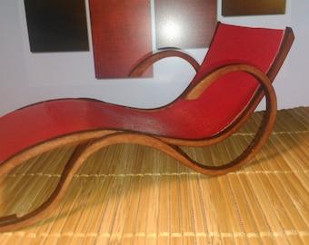 Art Nouveau style red PU leather chaise longue, 1/12 miniature for dollhouses