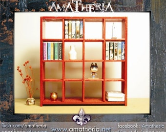 IKEA inspired miniature dollhouse 1/12 EXPEDIT red bookcase