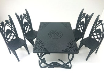 Art Nouveau black dining table with 4 chairs, 1/12 miniature for dollhouses