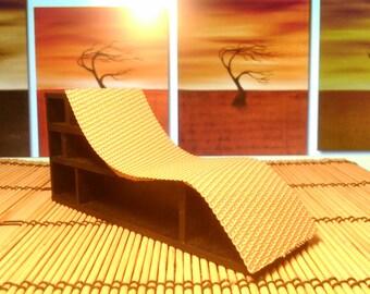 Modern original furniture, lounge chair-bookcase hybrid, 1/12 miniature for dollhouses