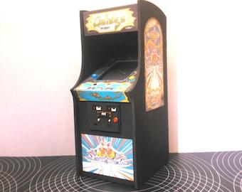 Miniature arcade machine, Galaga game, 1/12 dollhouse scale
