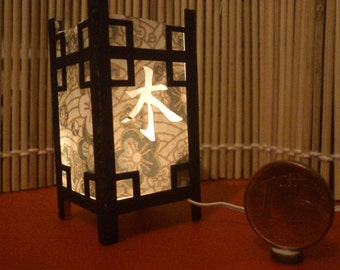 "Japanese traditional kanji LED lamp, ""Tree"".  1/12 miniature for dollhouses"