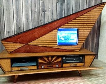 Dollhouse miniature working vintage mid century Kuba Comet TV, 1/12 scale.
