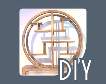 DIY Japanese round bookcase kit , 1/12 miniature for dollhouses