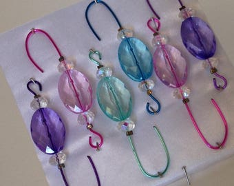 Beaded Christmas Ornament  Hangers - Oval Shaped Colored Assortment- FREE SHIPPING