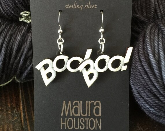 Halloween Boo! Earrings that are laser cut and hand painted to gift the illusion of 3D // gifts for her // Halloween