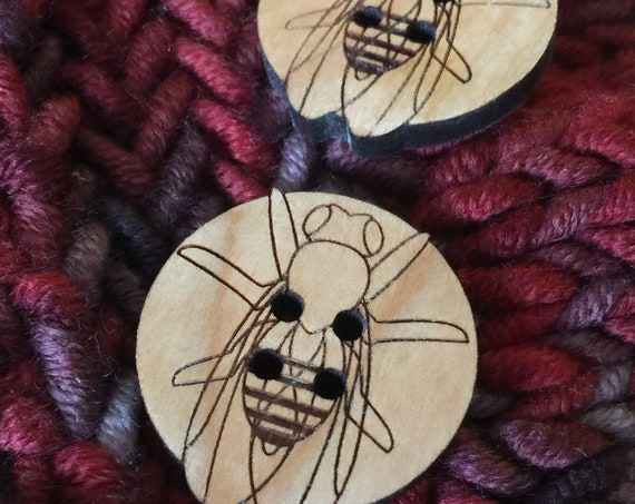 "Set of 4, 1"" Fruit Fly buttons laser cut out of solid cherry that will beautifully darken over time // gifts for scientists"