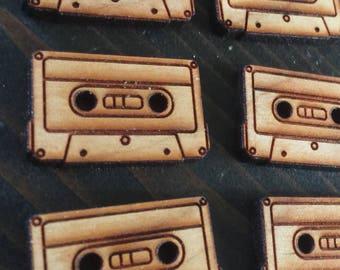 """Set of 6, 1"""" Cassette buttons"""