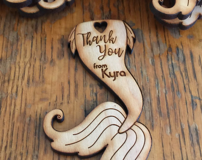 Mermaid Tail Thank You Tags (Set of 50) laser cut out of solid cherry, not plywood // party favors // keep sake // custom designs available