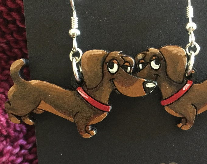 Dachshund Earrings that are laser cut and hand painted to give the illusion of 3D // gifts for her // gifts for dog lovers