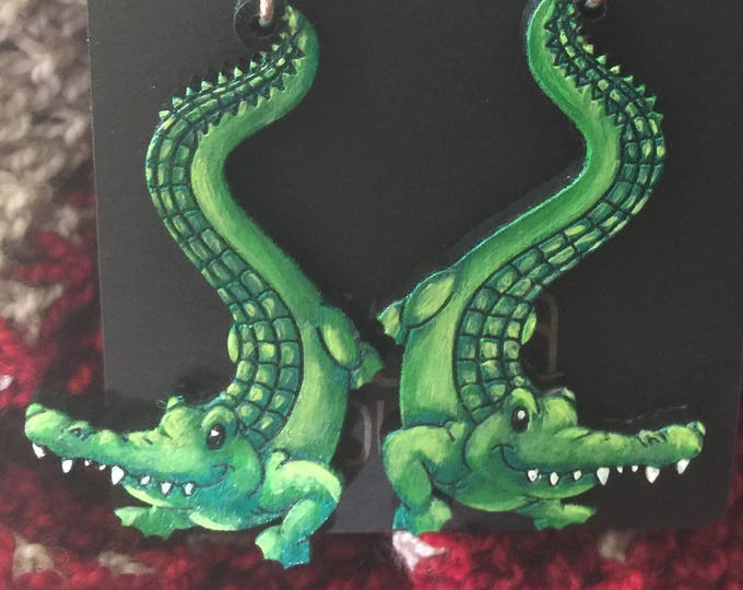Alligator Earrings that are laser cut and hand painted to give the illusion of 3D // gifts for her