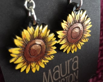 Sunflower Earrings that are laser cut and hand painted to give the illusion of 3D // gifts for her // gifts for gardeners