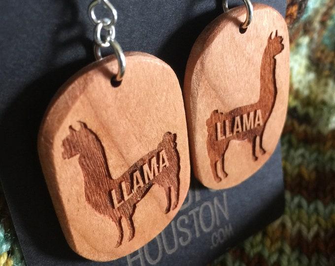 Wooden Llama Earrings