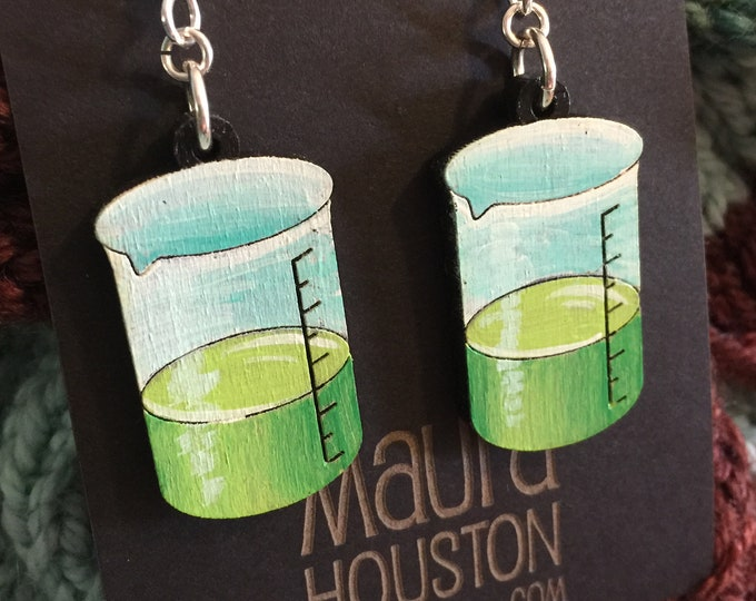 Beaker earrings that are laser cut and hand painted to give the illusion of 3D // gifts for her // gifts for scientists