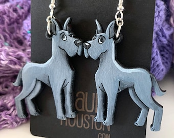 Blue Great Dane Earrings (Large)