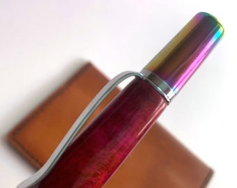 Hand Turned Ares Style Pen with Dye Stabilized Wood barrel