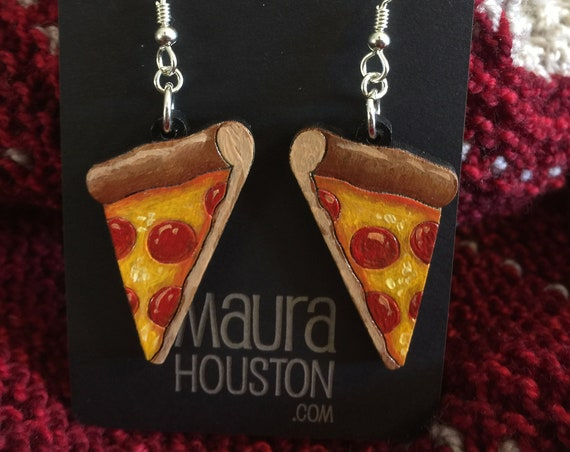 Pizza Slice Earrings that are laser cut and hand painted to give the illusion of 3D // gifts for her // Foodie