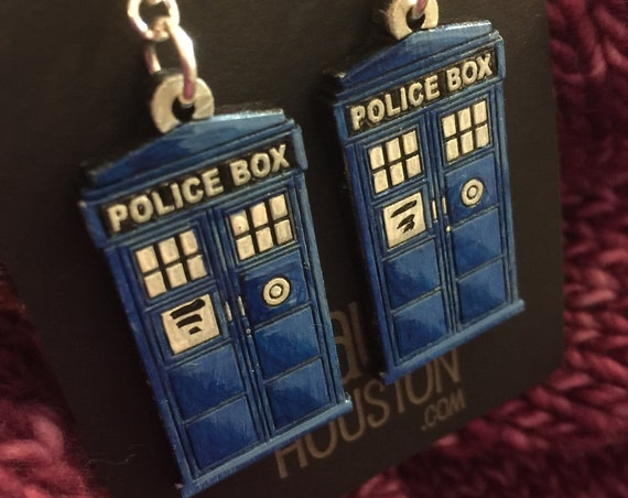 Tardis Earrings that are laser cut and hand painted to give the illusion of 3D // gifts for her // gifts for whovians // dr who