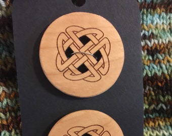 "Set of 2, Large 1.5"" Celtic Knot Buttons"