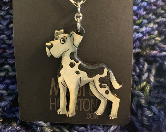 Great Dane Necklace that is laser cut and hand painted to give the illusion of 3D // gifts for her