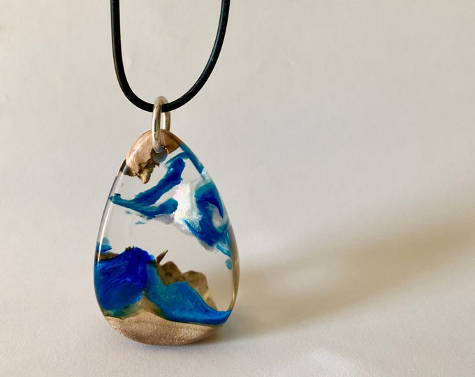 One of a kind Hybrid resin and burl wood large pendant necklace