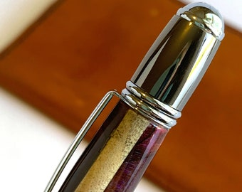 Hand Turned Gatsby Style Pen with Stabilized Wood and resin barrel