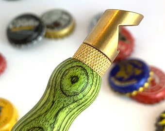 Bottle Opener Keychain with green SpectraPly hand turned handle