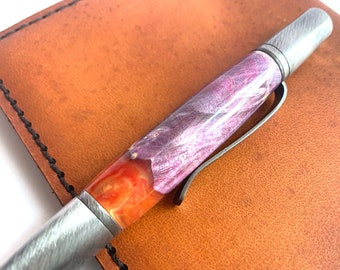 Hand Turned Ares Style Pen with Dye Stabilized Wood and Resin barrel