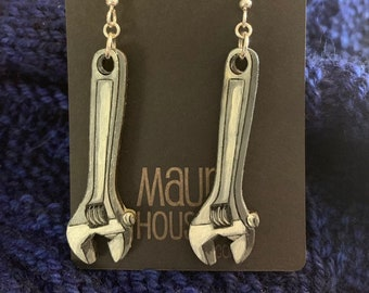 Adjustable Wrench Earrings NOT METAL