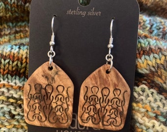 Knitting design earrings on stabilized maple burl // gifts for mom // gifts for knitters