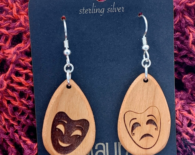 Drama mask solid wood earrings