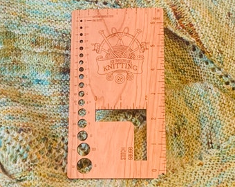 Needle Gauge and Ruler for Knitters