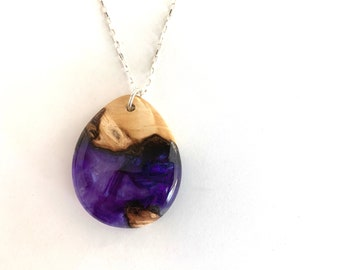 Purple Resin and Burl Wood Pendant Necklace