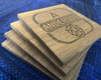 Set of four personalized walnut coasters