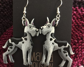 Harlequin Great Dane Earrings