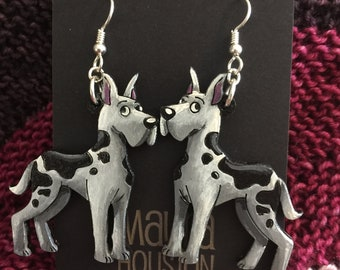 Great Dane Earrings (Large) that are laser cut and hand painted to give the illusion of 3D // gifts for her // dog moms