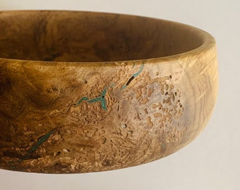 Medium spalted maple bowl with blue resin inlay